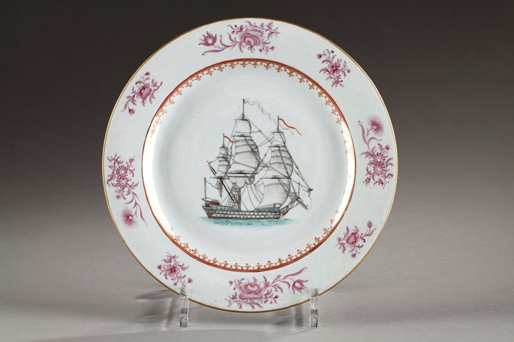 Famille rose porcelain plate with a ship
