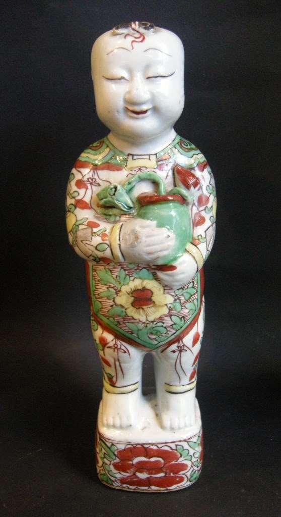 "Figure ""Ho Ho""  ""Famille verte"" porcelain - Early Kangxi period"