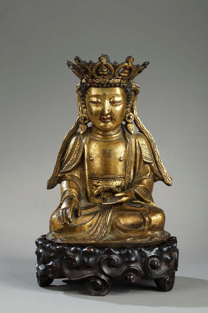 Figure of Bodhisattva  Gold bronze and sitting in padmasana  the hands in bhumisparsa mudra