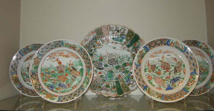 "Five dish porcelain ""Famille verte"" decorated with numerous seashells - Kangxi period 