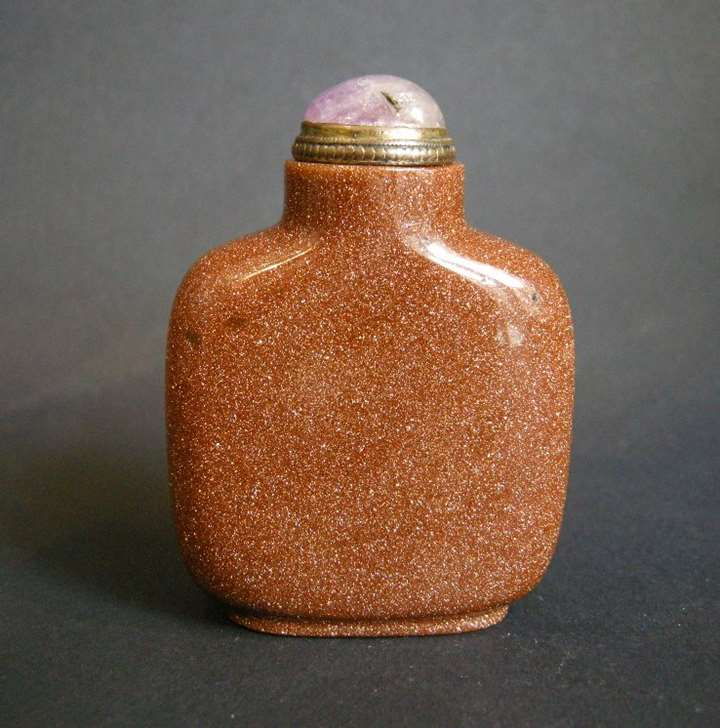 Glass Snuff Bottle imitating Aventurine stone