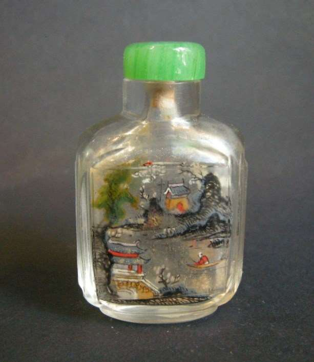 Glass snuff bottle Inside painted with landscapes in each face Lingnan school