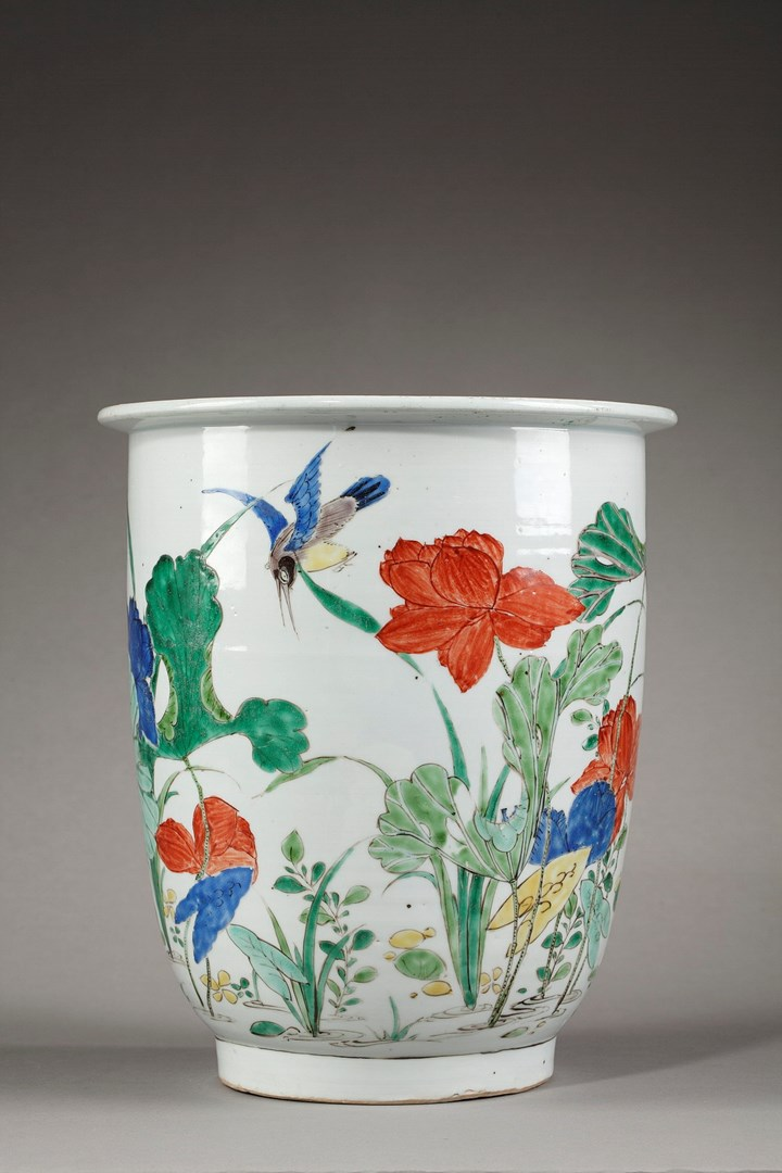 "Important pot porcelain ""famille verte"" decorated with Kingfisher and lotus - Kangxi period"