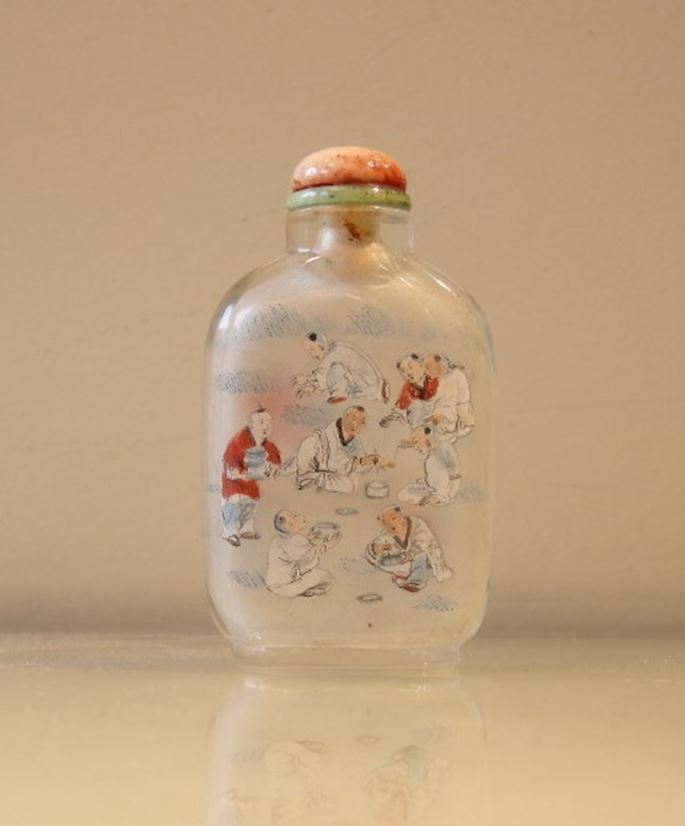 Inside painting glass snuff bottle painted with numerous childrens | MasterArt