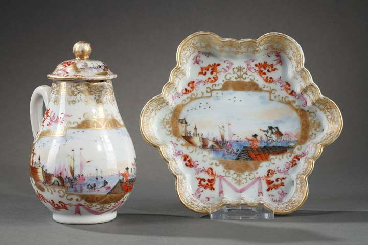 Milk pot and pattipan chinese export porcelain Meissen style