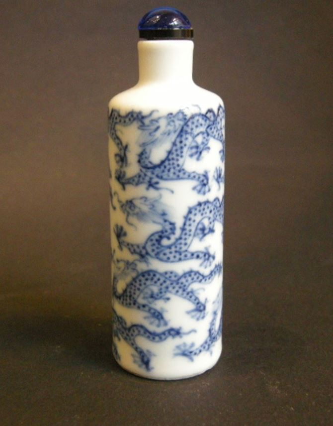 """Snuff bottle porcelain  """"blue and white"""" decorated with numerous Dragons 