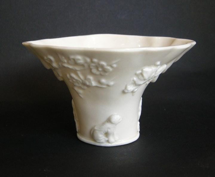 "Libation cup porcelain ""Blanc de Chine"" Rhinoceros horn shape - Dehua kilns Fujian province - Kangxi period"