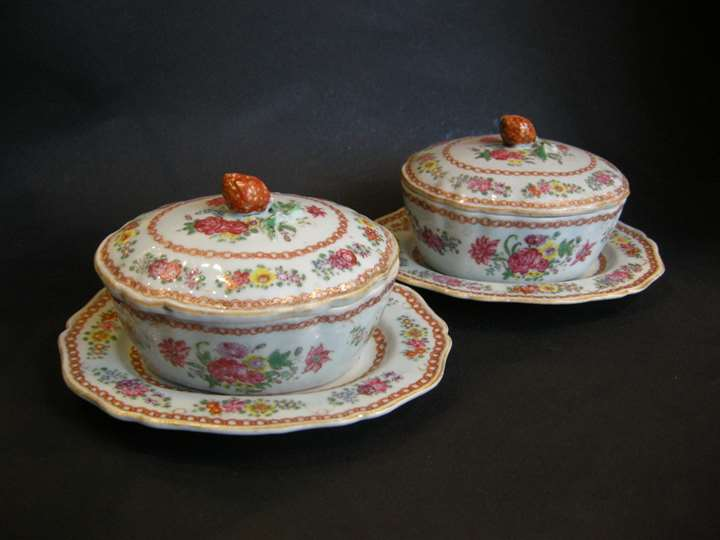 "Pair small tureens porcelain ""Famille Rose"" - Chine export - Qianlong period"