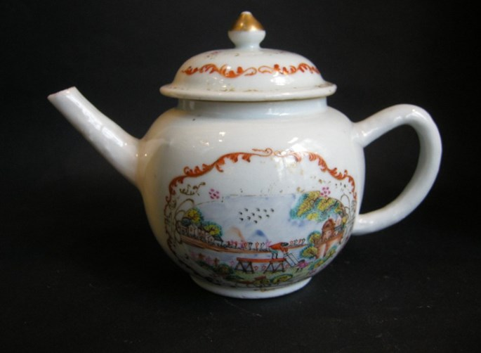 Teapot porcelain Meissen style - The pit sawyers - after an engraving of S Le Clerc | MasterArt