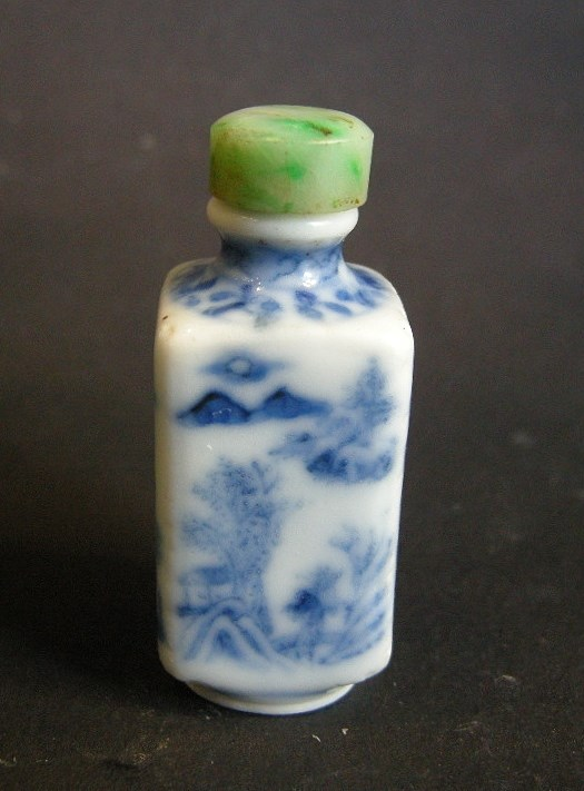 Small snuff bottle porcelain blue and white square form | MasterArt