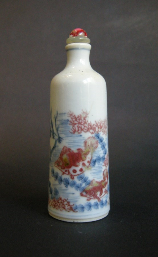 "Snuff bottle porcelain copper red and underglaze blue with a fish ""mandarins"""