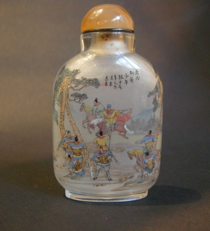 Snuff bottle glass Inside painting with hunting scene | MasterArt