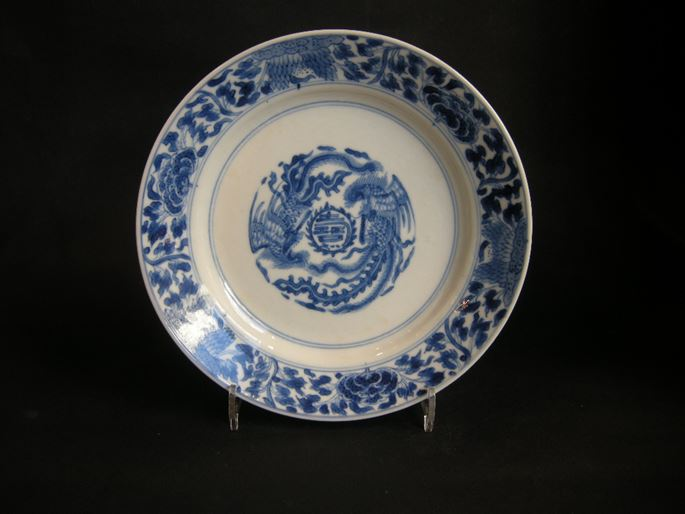 "Small dish ""blue and white"" decorated with two phoenix - Kangxi period 
