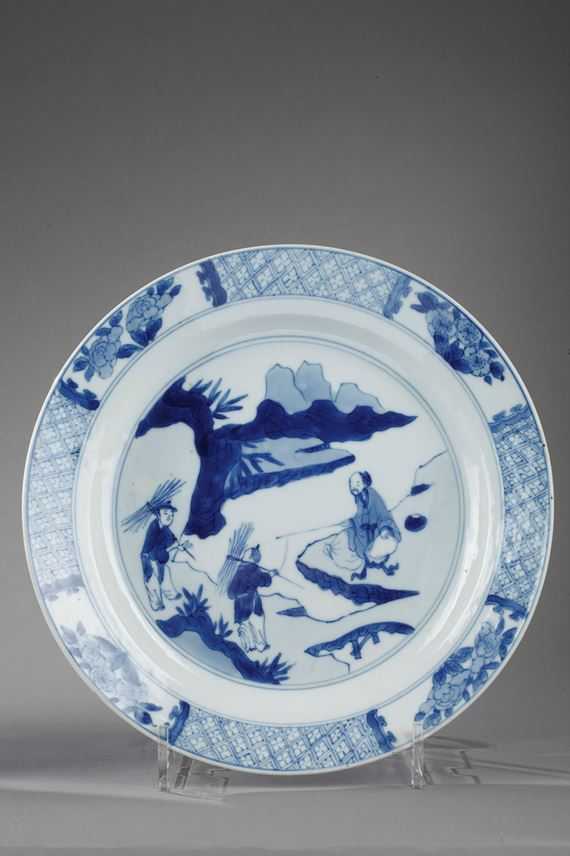 Pair of plates porcelain blue and white | MasterArt