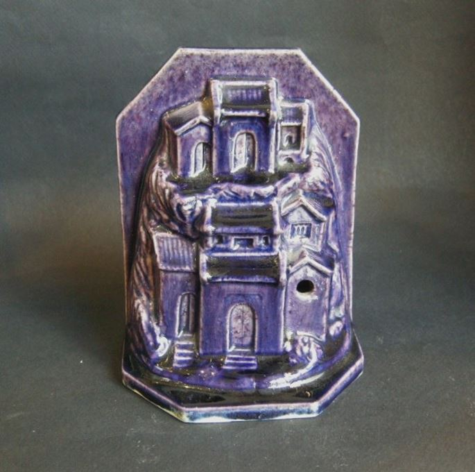 Sculpture porcelain aubergine color probably paperweight in form of houses and rocks | MasterArt