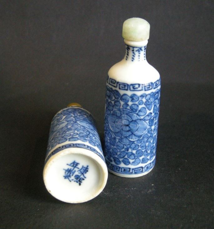 Pair of blue and white porcelain snuff bottles with flowers decoration | MasterArt