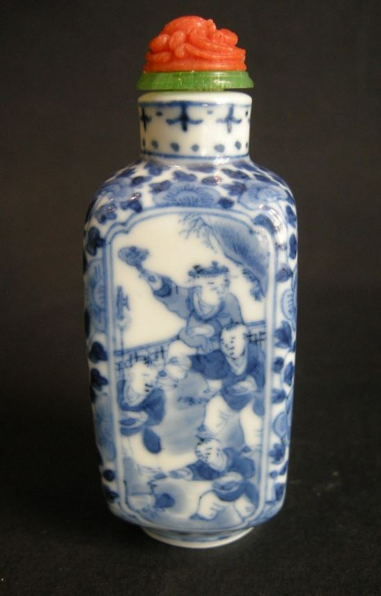 Snuff bottle porcelain blue and white of rectangular shape (for faces) decorated in each face with numerous childrens | MasterArt