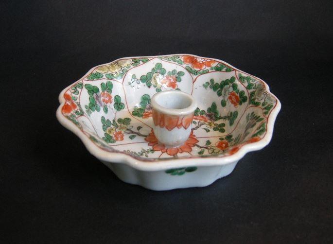 "Rare candleholder ""famille verte"" porcelain - the shape was derived from a European metal model   MasterArt"