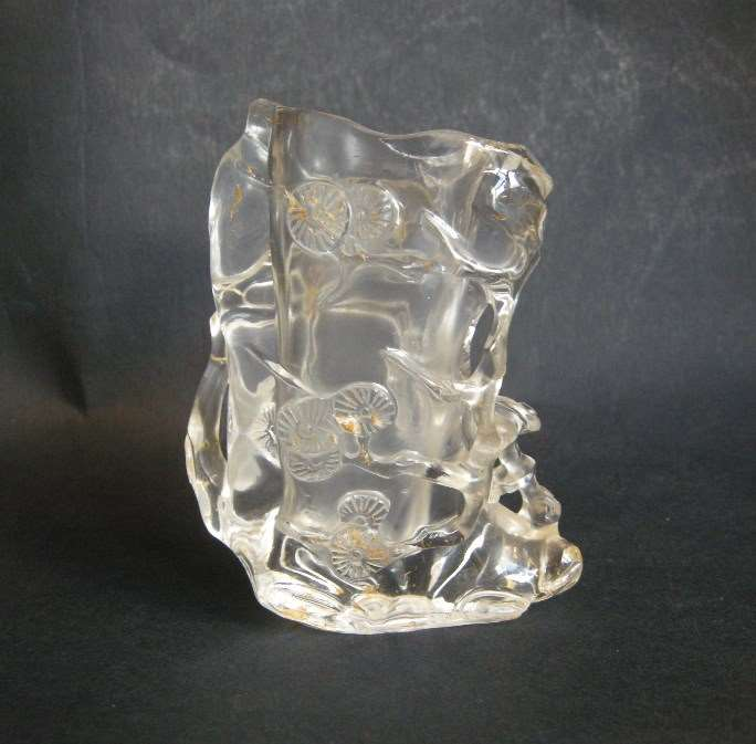 Rock crystal brushpot in form pine trunk with branch  and lingzi mushroom