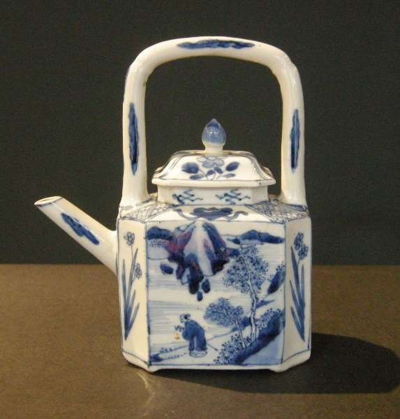 Winepot  blue and white porcelain - decorated with a landscape and other face with mobilar objects -
