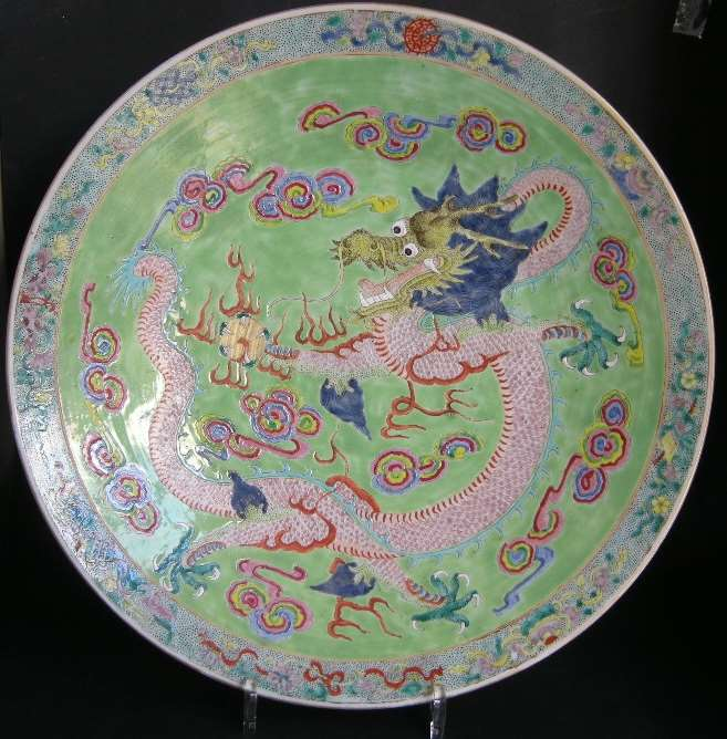 Porcelain dish  with superb dragon enamelled in polychromy
