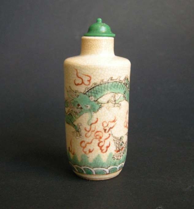 "Snuff bottle porcelain polychrom ""soft past"" decorated with dragons"