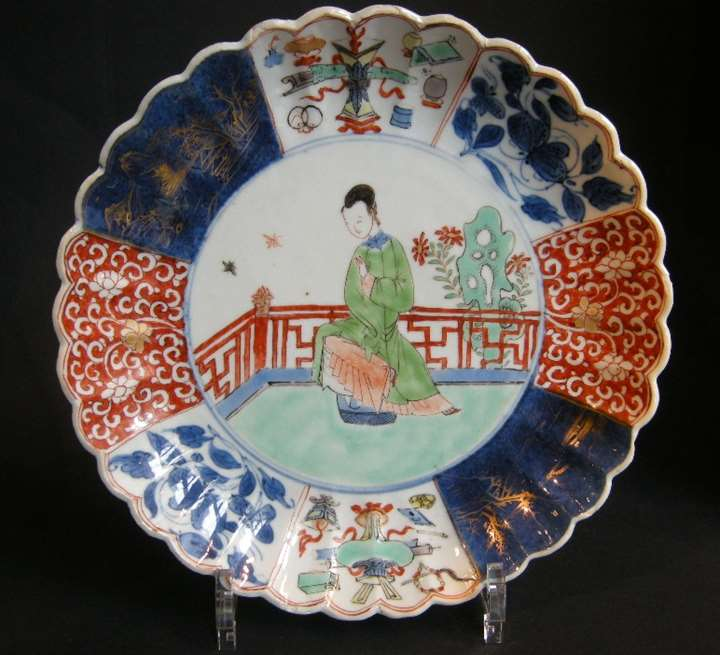 "Dish  porcelain enamels ""Famille Verte""  underglaze blue blue on cover and powder blue  with  lady cour in the center and mobilars decor"