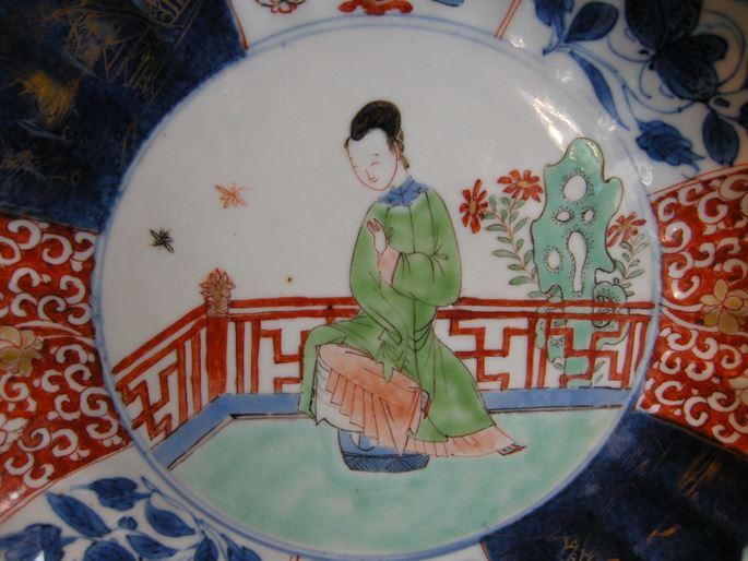 "Dish  porcelain enamels ""Famille Verte""  underglaze blue blue on cover and powder blue  with  lady cour in the center and mobilars decor 