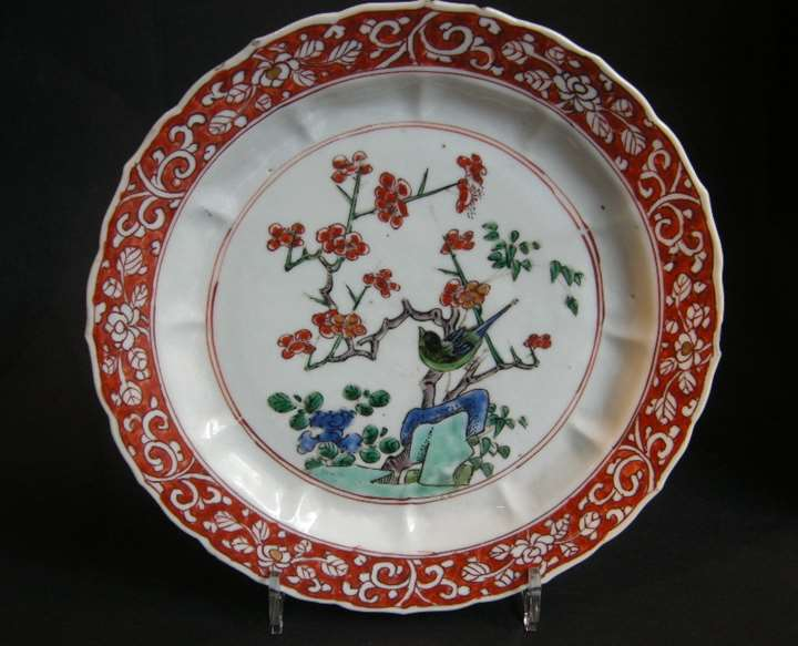 Plate  porcelain decorated in Famille verte enamels and iron red