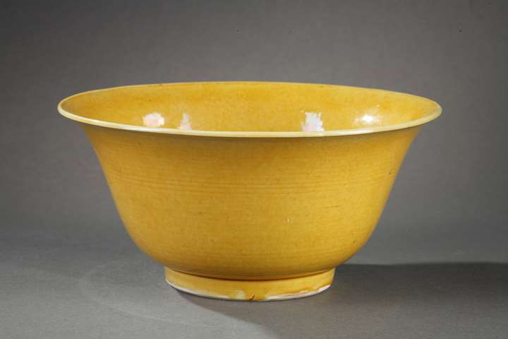 Chinese yellow bowl  with yorkshop maek under the base