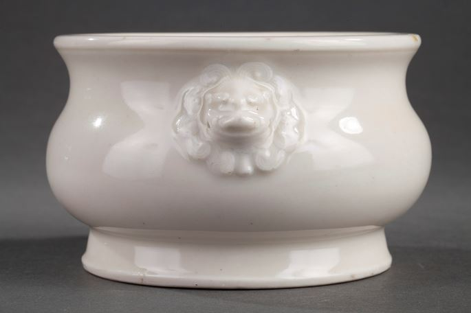 Chinese blanc de Chine censer with lion masks | MasterArt
