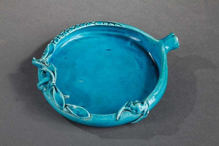 Chinese turquoise enamelled biscuit in the shape of a pomegranate