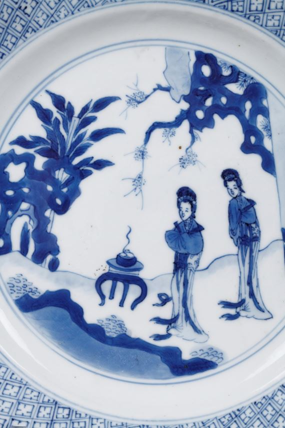 Chinese blue and white porcelain plate with two long Eliza in a garden in front of a censer   MasterArt