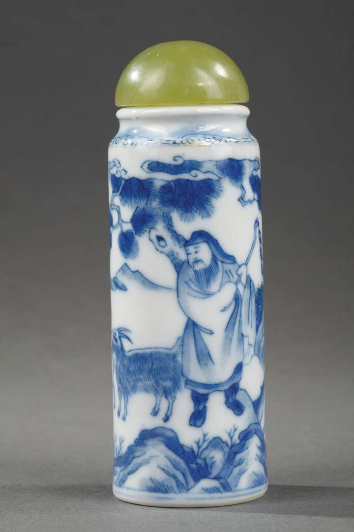 Snuff bottle blue and white roll shape with a figure and three rams