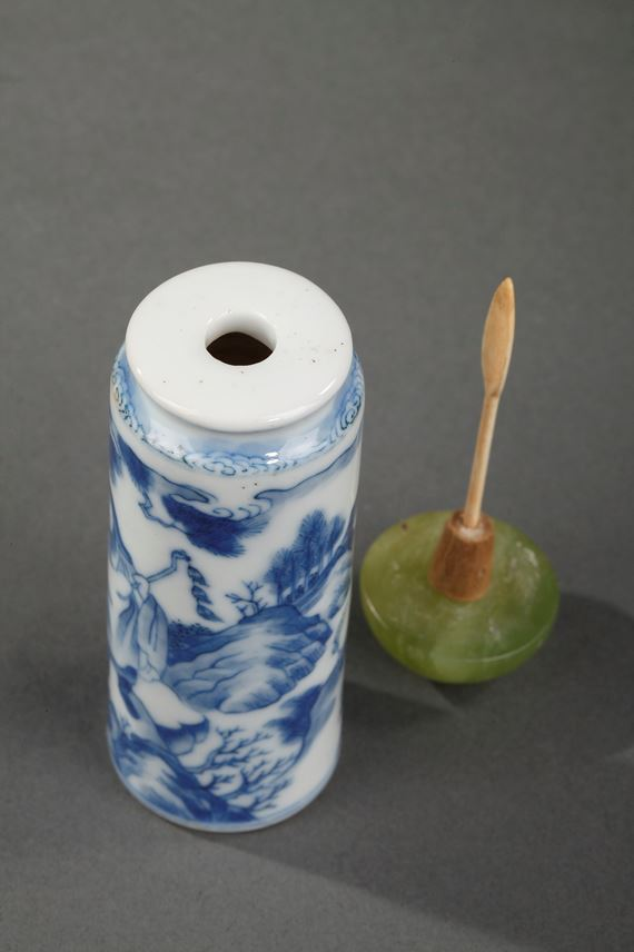 Snuff bottle blue and white roll shape with a figure and three rams   MasterArt