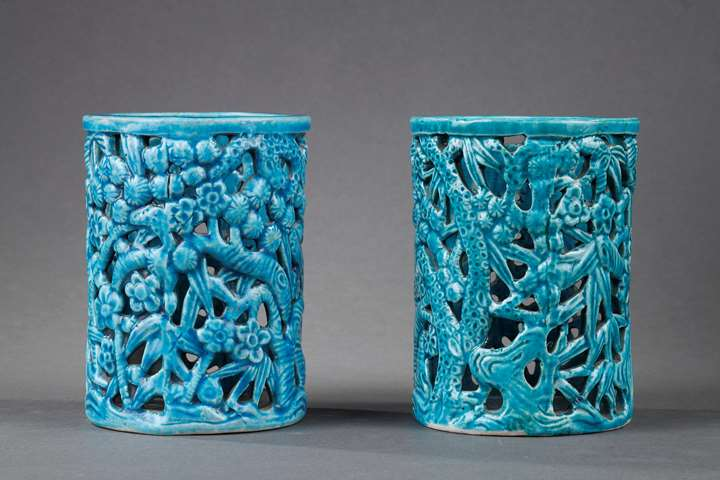 Pair of brushpot in biscuit turquoise blue color molded and reticuled  pine bamboo and prunus