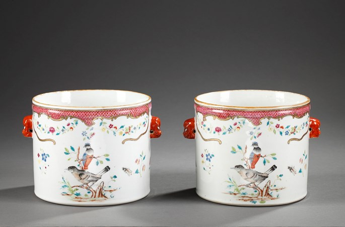 "Pair of coolers Chinese Export  ""Famille rose "" porcelain - Qianlong period 