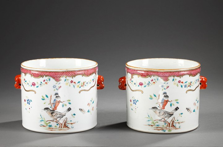 "Pair of coolers Chinese Export  ""Famille rose "" porcelain - Qianlong period"