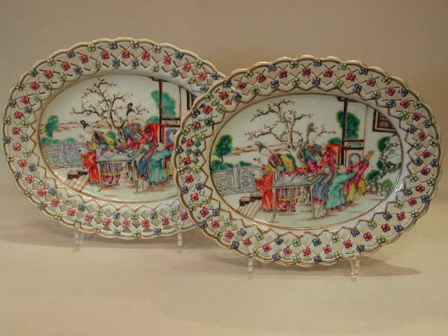 Pair of oval dishes