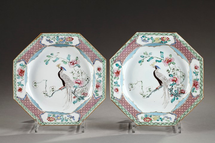 "Pair of plates ""Famille rose"" porcelain - Yongzheng period"