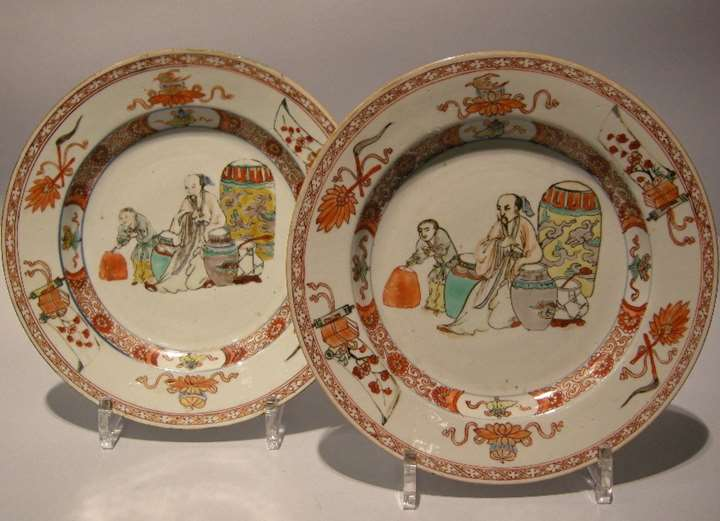 "Pair of plates porcelain "" famille verte """