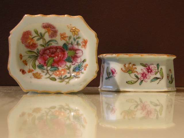 Pair of porcelain salt cellars