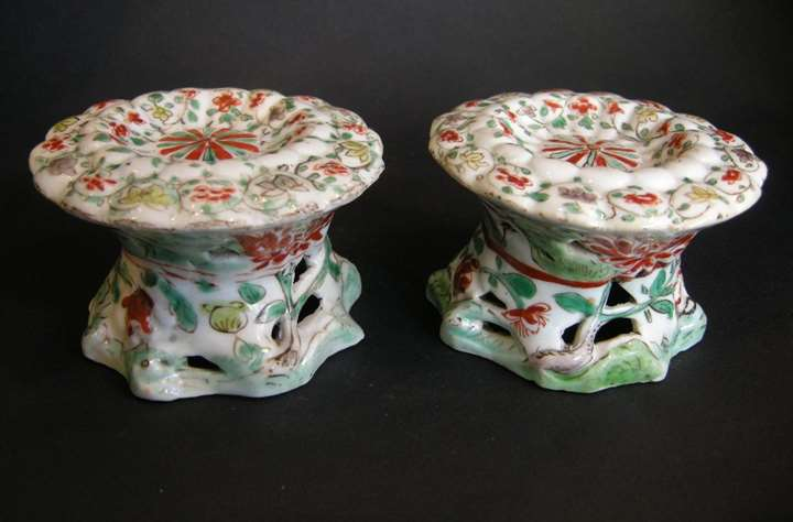 "Pair of salt ""famille verte"" porcelain - Kangxi period"