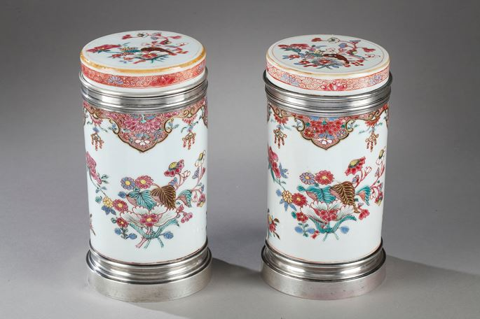 "Pair porcelain box for the tea  ""famille rose""  decorated with flowers -  Qianlong period -Silver mount 19th century  probably English work 
