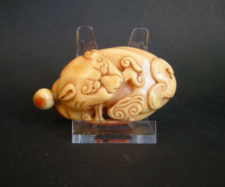 Rare Hornbill snuff bottle sculpted a Fodog with Lingzhi