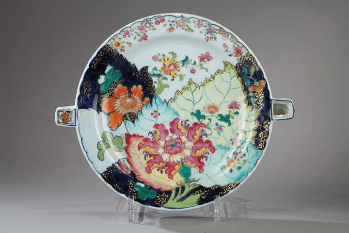 Rare heating dish porcelain, Tobacco Leaf decor