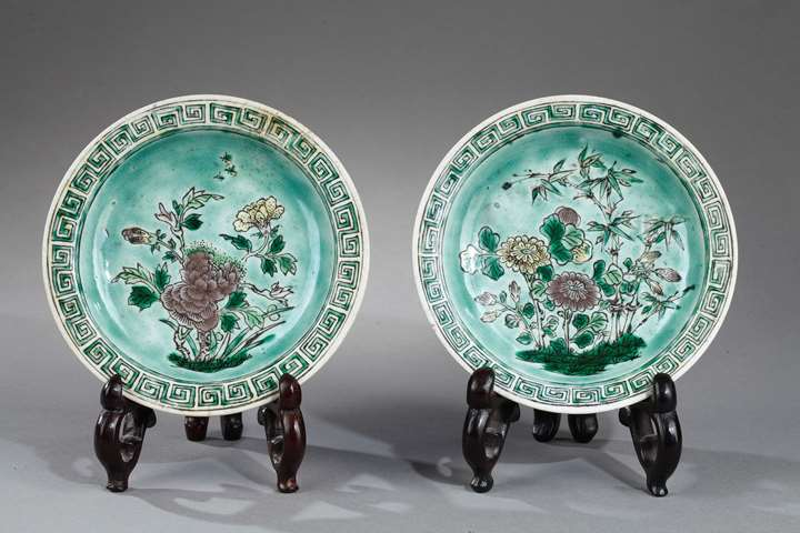 Rare pair small sweet dish in biscuit Famille Verte - Kangxi period