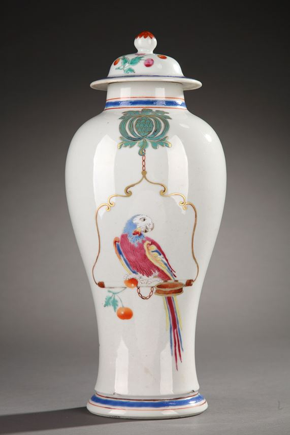 "Rare vase and cover in porcelain ""Famille rose"" (the design attributed Cornelis Pronk) Chinese Export 