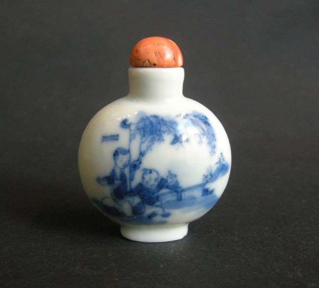 Snuff bottle miniature porcelain blue and white  decorated with childrens game