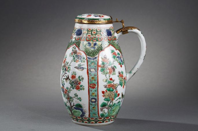 Tankard and cover famille verte porcelain - decorated with panels flowers and birds  finely painted | MasterArt
